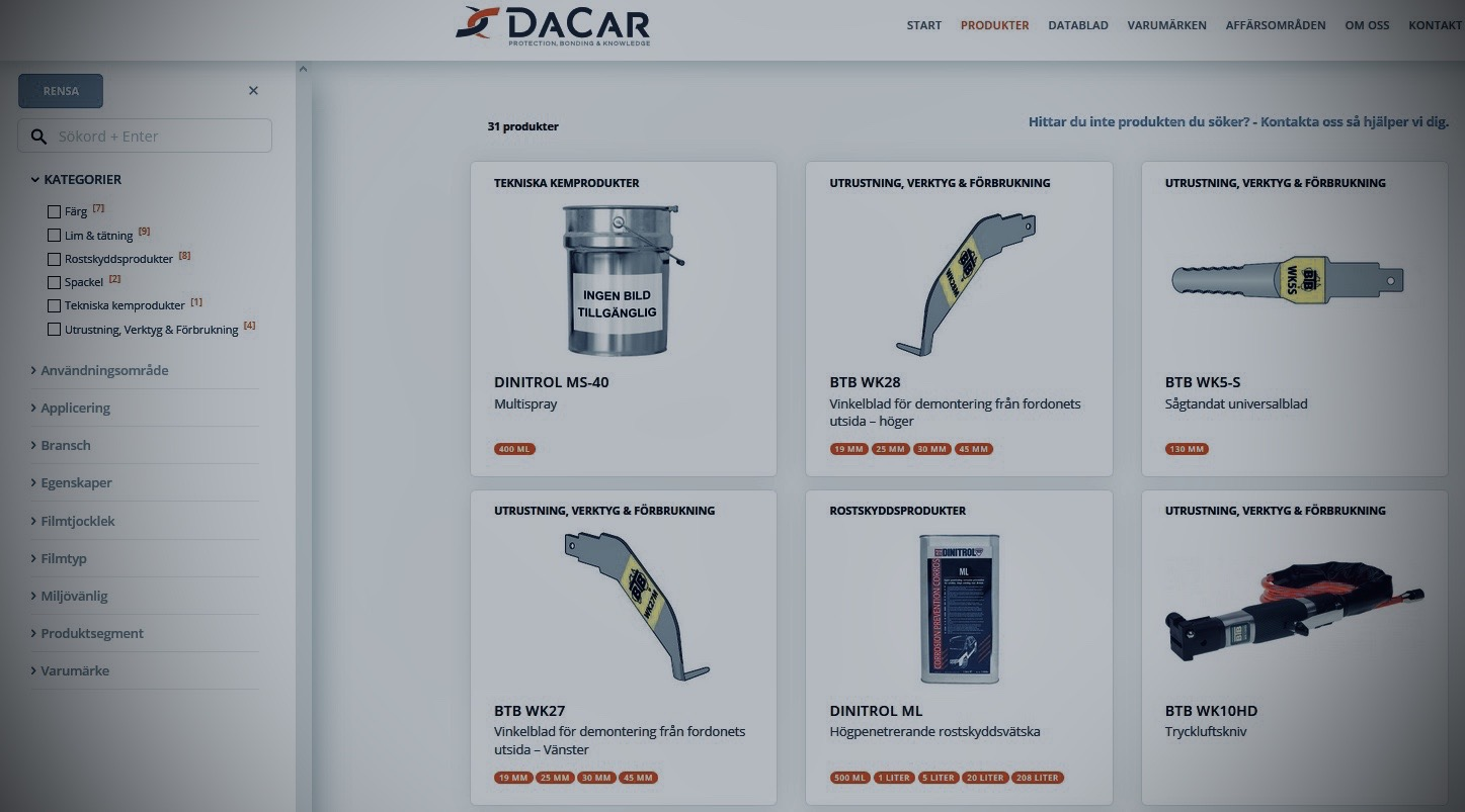 Dacar produktsortiment